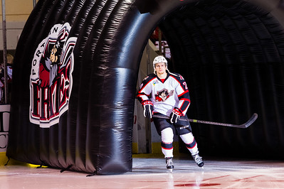 Brendan Shinnimin #24(C) of the Portland Pirates takes the ice prior to the start of the Portland Pirates 2014-15 season opener vs the Providence Bruins at the Cross Insurance Arena in Portland, Maine on 10/11/2014. (Photo by Michael McSweeney/Portland Pirates)