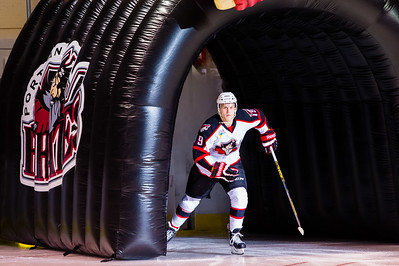 Henrik Samuelsson #19(LW) of the Portland Pirates takes the ice prior to the start of the Portland Pirates 2014-15 season opener vs the Providence Bruins at the Cross Insurance Arena in Portland, Maine on 10/11/2014. (Photo by Michael McSweeney/Portland Pirates)