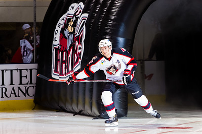 Dylan Reese #2(D) of the Portland Pirates takes the ice prior to the start of the Portland Pirates 2014-15 season opener vs the Providence Bruins at the Cross Insurance Arena in Portland, Maine on 10/11/2014. (Photo by Michael McSweeney/Portland Pirates)