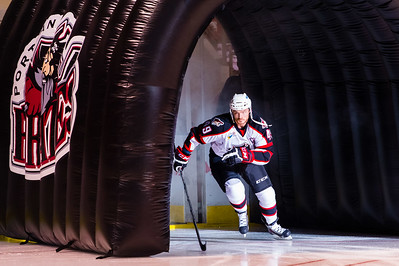 Alex Bolduc #49(C) of the Portland Pirates takes the ice prior to the start of the Portland Pirates 2014-15 season opener vs the Providence Bruins at the Cross Insurance Arena in Portland, Maine on 10/11/2014. (Photo by Michael McSweeney/Portland Pirates)