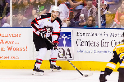 Lucas Lessio #38(LW) of the Portland Pirates. Portland Pirates 2014-15 season opener vs the Providence Bruins at the Cross Insurance Arena in Portland, Maine on 10/11/2014. (Photo by Michael McSweeney/Portland Pirates)