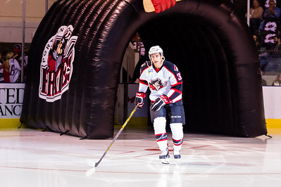 Tyler Gaudet #32(C) of the Portland Pirates takes the ice prior to the start of the Portland Pirates 2014-15 season opener vs the Providence Bruins at the Cross Insurance Arena in Portland, Maine on 10/11/2014. (Photo by Michael McSweeney/Portland Pirates)