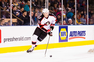Mark Louis #33(D) of the Portland Pirates. Portland Pirates 2014-15 season opener vs the Providence Bruins at the Cross Insurance Arena in Portland, Maine on 10/11/2014. (Photo by Michael McSweeney/Portland Pirates)