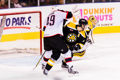 Alex Bolduc #49(C) of the Portland Pirates battles Steve Eminger #44(D) of the Providence Bruins for position during the Portland Pirates 2014-15 season opener vs the Providence Bruins at the Cross Insurance Arena in Portland, Maine on 10/11/2014. (Photo by Michael McSweeney/Portland Pirates)