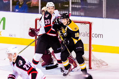 Mark Louis #33(D) of the Portland Pirates and Justin Florek #18(LW) of the Providence Bruins battle hard in front of the Pirates net during the Portland Pirates 2014-15 season opener vs the Providence Bruins at the Cross Insurance Arena in Portland, Maine on 10/11/2014. (Photo by Michael McSweeney/Portland Pirates)