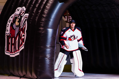 Louis Domingue #37(G) of the Portland Pirates takes the ice prior to the start of the Portland Pirates 2014-15 season opener vs the Providence Bruins at the Cross Insurance Arena in Portland, Maine on 10/11/2014. (Photo by Michael McSweeney/Portland Pirates)
