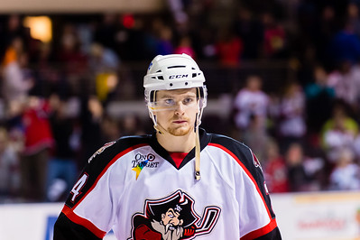 Brendan Shinnimin #24(C) of the Portland Pirates receives 1st Star honors. Portland Pirates 2014-15 season opener vs the Providence Bruins at the Cross Insurance Arena in Portland, Maine on 10/11/2014. (Photo by Michael McSweeney/Portland Pirates)