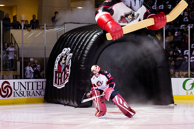 Mike McKenna #56(G) of the Portland Pirates takes the ice prior to the start of the Portland Pirates 2014-15 season opener vs the Providence Bruins at the Cross Insurance Arena in Portland, Maine on 10/11/2014. (Photo by Michael McSweeney/Portland Pirates)