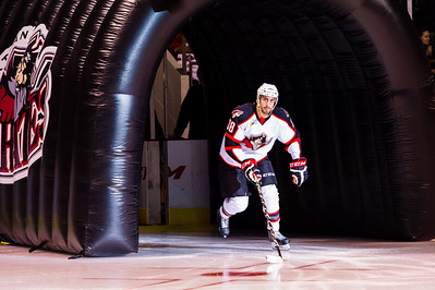 Lucas Lessio #38(LW) of the Portland Pirates takes the ice prior to the start of the Portland Pirates 2014-15 season opener vs the Providence Bruins at the Cross Insurance Arena in Portland, Maine on 10/11/2014. (Photo by Michael McSweeney/Portland Pirates)