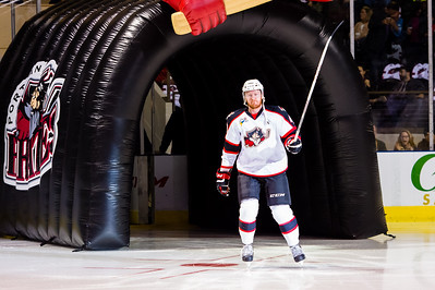 James Melindy #43(D) of the Portland Pirates takes the ice prior to the start of the Portland Pirates 2014-15 season opener vs the Providence Bruins at the Cross Insurance Arena in Portland, Maine on 10/11/2014. (Photo by Michael McSweeney/Portland Pirates)