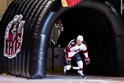 Mark Louis #33(D) of the Portland Pirates takes the ice prior to the start of the Portland Pirates 2014-15 season opener vs the Providence Bruins at the Cross Insurance Arena in Portland, Maine on 10/11/2014. (Photo by Michael McSweeney/Portland Pirates)