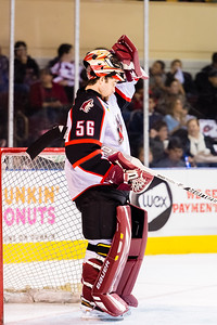 Mike McKenna #56(G) of the Portland Pirates. Portland Pirates 2014-15 season opener vs the Providence Bruins at the Cross Insurance Arena in Portland, Maine on 10/11/2014. (Photo by Michael McSweeney/Portland Pirates)