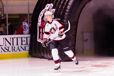 Andrew Campbell #4(D) of the Portland Pirates takes the ice prior to the start of the Portland Pirates 2014-15 season opener vs the Providence Bruins at the Cross Insurance Arena in Portland, Maine on 10/11/2014. (Photo by Michael McSweeney/Portland Pirates)