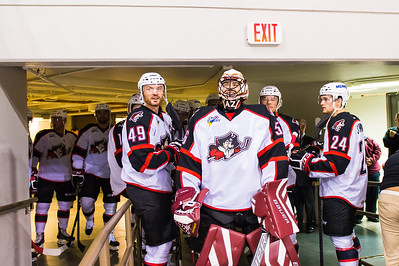 Warm ups are underway for Hockey Night in Portland. The Portland Pirates first game of the 2014-15 Season against the Providence Bruins at the Cross Insurance Arena in Portland, Maine on 10/11/2014. (Photo by Michael McSweeney/Portland Pirates)