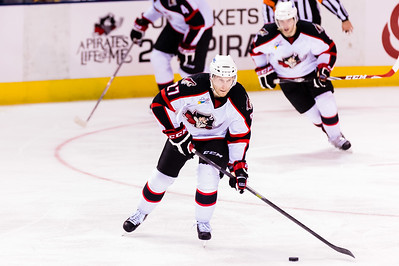 Evan Oberg #27(D) of the Portland Pirates. Portland Pirates 2014-15 season opener vs the Providence Bruins at the Cross Insurance Arena in Portland, Maine on 10/11/2014. (Photo by Michael McSweeney/Portland Pirates)