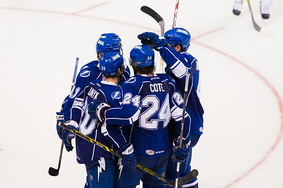 Syracuse Crunch players celebrate a goal scored in the third period during the Portland Pirates regular season contest vs. the Syracuse Crunch at the Cross Insurance Arena in Portland, Maine on 10/25/2014. The Portland Pirates won 2-1. (Photo by Michael McSweeney/Portland Pirates)