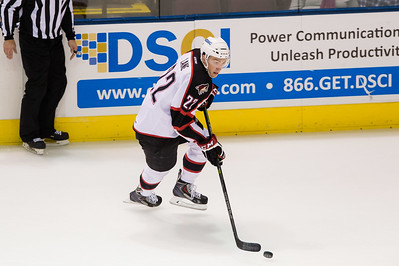 Phil Lane #22(RW) of the Portland Pirates on a breakaway during the Portland Pirates regular season contest vs. the Syracuse Crunch at the Cross Insurance Arena in Portland, Maine on 10/25/2014. (Photo by Michael McSweeney/Portland Pirates)