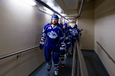 Eric Neilson #29(RW) of the Syracuse Crunch leads teammates out for warm ups. Portland Pirates regular season contest vs. the Syracuse Crunch at the Cross Insurance Arena in Portland, Maine on 10/25/2014. (Photo by Michael McSweeney/Portland Pirates)