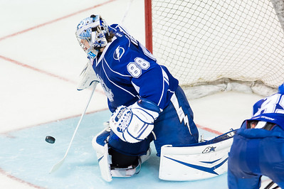 Andrei Vasilevskiy #88(G) of the Syracuse Crunch makes a save during the Portland Pirates regular season contest vs. the Syracuse Crunch at the Cross Insurance Arena in Portland, Maine on 10/25/2014. (Photo by Michael McSweeney/Portland Pirates)