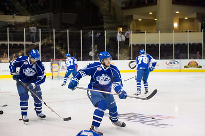 Syracuse Crunch players warm up prior to the Portland Pirates regular season contest vs. the Syracuse Crunch at the Cross Insurance Arena in Portland, Maine on 10/25/2014. (Photo by Michael McSweeney/Portland Pirates)