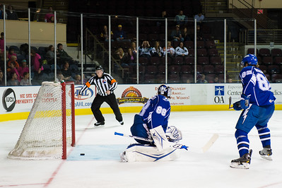 Andrei Vasilevskiy #88(G) of the Syracuse Crunch lets the puck trickle past his pads as it almost crosses the goal line during the Portland Pirates regular season contest vs. the Syracuse Crunch at the Cross Insurance Arena in Portland, Maine on 10/25/2014. There was no goal on the play. (Photo by Michael McSweeney/Portland Pirates)