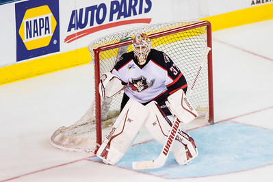 Louis Domingue #37(G) of the Portland Pirates readies for a save during the Portland Pirates regular season contest vs. the Syracuse Crunch at the Cross Insurance Arena in Portland, Maine on 10/25/2014. (Photo by Michael McSweeney/Portland Pirates)