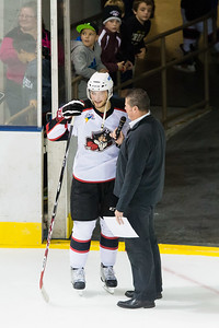 Pete DeBear interviews Tobias Rieder #9(C) of the Portland Pirates after Rieder was named 1st Star of the game in which he scored 2 goals. Portland Pirates regular season contest vs. the Syracuse Crunch at the Cross Insurance Arena in Portland, Maine on 10/25/2014. (Photo by Michael McSweeney/Portland Pirates)