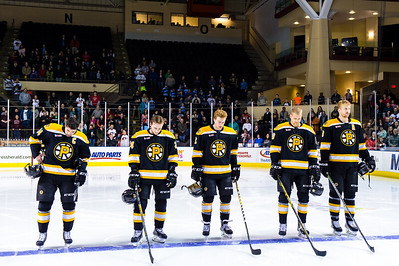Providence Bruins starters.  Portland Pirates vs. the Providence Bruins at the Cross Insurance Arena in Portland, Maine on 11/28/2014. (Photo by Michael McSweeney/Portland Pirates)