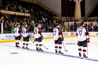 Portland Pirates starters. Portland Pirates vs. the Providence Bruins at the Cross Insurance Arena in Portland, Maine on 11/28/2014. (Photo by Michael McSweeney/Portland Pirates)