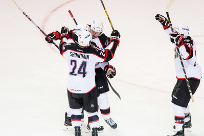Portland Pirates players celebrate after scoring a goal in the 3rd period of the Portland Pirates regular season contest vs. the St. John's IceCaps at the Cross Insurance Arena in Portland, Maine on 10/31/2014. (Photo by Michael McSweeney/Portland Pirates)