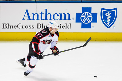 Evan Oberg #27(D) of the Portland Pirates. Portland Pirates regular season contest vs. the St. John's IceCaps at the Cross Insurance Arena in Portland, Maine on 10/31/2014. (Photo by Michael McSweeney/Portland Pirates)