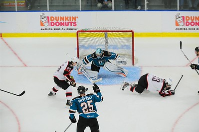 AHL Portland Pirates host the AHL Worcester Sharks during a 2013-14 regular season contest at the Androscoggin Bank Colisée, Lewiston, Maine, USA, on 3/26/2014. Photo: Michael McSweeney.