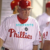 August 20, 2009: Phillie's manager Charlie Manuel makes his way through dugout to talk to starting pitcher Joe Blanton (56) after being removed in the 9th inning during the Arizona Diamondbacks and the Philadelphia Phillies at Citzens Bank Park in Philadelphia, PA. The Phillies defeated the Diamondbacks 12-3. Donald B. Kravitz