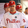 August 20, 2009: Phillie's pitcher Cliff Lee (34) walks the dugout to talk Joe Blanton (56) during the game between the Arizona Diamondbacks and the Philadelphia Phillies at Citzens Bank Park in Philadelphia, PA. The Phillies defeated the Diamondbacks 12-3. Donald B. Kravitz