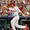 August 20, 2009: Phillie's CF Shane Victorino (8) singles to right during the game between the Arizona Diamondbacks and the Philadelphia Phillies at Citzens Bank Park in Philadelphia, PA. The Phillies defeated the Diamondbacks 12-3. Donald B. Kravitz