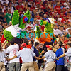 August 20, 2009: Phillie's mascot the Phanatic and Mrs. Phanatic are hoisted in the air by Phillie's fans in between innings during the game between the Arizona Diamondbacks and the Philadelphia Phillies at Citzens Bank Park in Philadelphia, PA. The Phillies defeated the Diamondbacks 12-3. Donald B. Kravitz