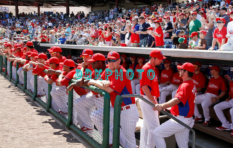 """February 27, 2011; The Philadelphia Phillies' played their home  opening Spring Training game against the New York Yankee's in front of a """"Sold Out"""" crowd of  over 10,000 Phillies' and Yankee fans in Clearwater, Fla. The Yankee's won, 7-3 Photos by Donald B. Kravitz"""