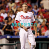 8 September 2008: Philadelphia Phillies' Chase Utley (26) waits on 1st base for a teammate to bring out his hat and glove late in the game against the Florida Marlins. Philadelphia went on to win defeating the Marlins 8-6 in Citizens Bank Stadium in Philadelphia, PA
