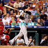 8 September 2008: Florida Marlins, catcher John Baker (21) watches a long fly ball in the game against the Philadelphia Phillies. Philadelphia went on to win defeating the Marlins 8-6 in Citizens Bank Stadium in Philadelphia, PA