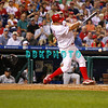 8 September 2008: Philadelphia Phillies' pitcher Joe Blanton (56) hits a hard ground ball in the game against the Florida Marlins. Philadelphia went on to win defeating the Marlins 8-6 in Citizens Bank Stadium in Philadelphia, PA