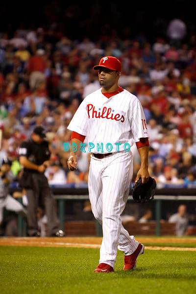 8 September 2008: Philadelphia Phillies' relief pitcher J.C. Romero (16) leaves the field after being pulled late in the game against the Florida Marlins. Philadelphia went on to win defeating the Marlins 8-6 in Citizens Bank Stadium in Philadelphia, PA