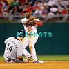 8 September 2008: Philadelphia Phillies' shortstop Jimmy Rollins (11) fires to first base after forcing out Marlins left fielder Josh Willingham (14) late in the game against the Florida Marlins. Philadelphia went on to win defeating the Marlins 8-6 in Citizens Bank Stadium in Philadelphia, PA