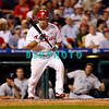 8 September 2008: Philadelphia Phillies' centerfielder Shane Victorino (8) pulls the bat back after a bunt attempt late in the game against the Florida Marlins. Philadelphia went on to win defeating the Marlins 8-6 in Citizens Bank Stadium in Philadelphia, PA
