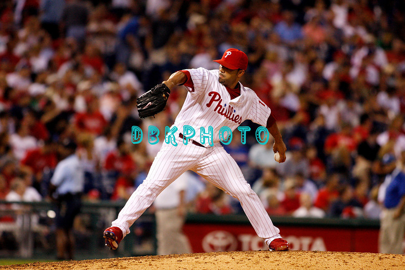 8 September 2008: Philadelphia Phillies' relief pitcher J.C. Romero (16) fires a pitch in late in the game against the Florida Marlins. Philadelphia went on to win defeating the Marlins 8-6 in Citizens Bank Stadium in Philadelphia, PA