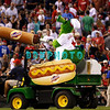 8 September 2008: Philadelphia Phillies' mascot the Phanatic fires hotdogs into the stands during the 7th innning break in the game against the Florida Marlins. Philadelphia went on to win defeating the Marlins 8-6 in Citizens Bank Stadium in Philadelphia, PA