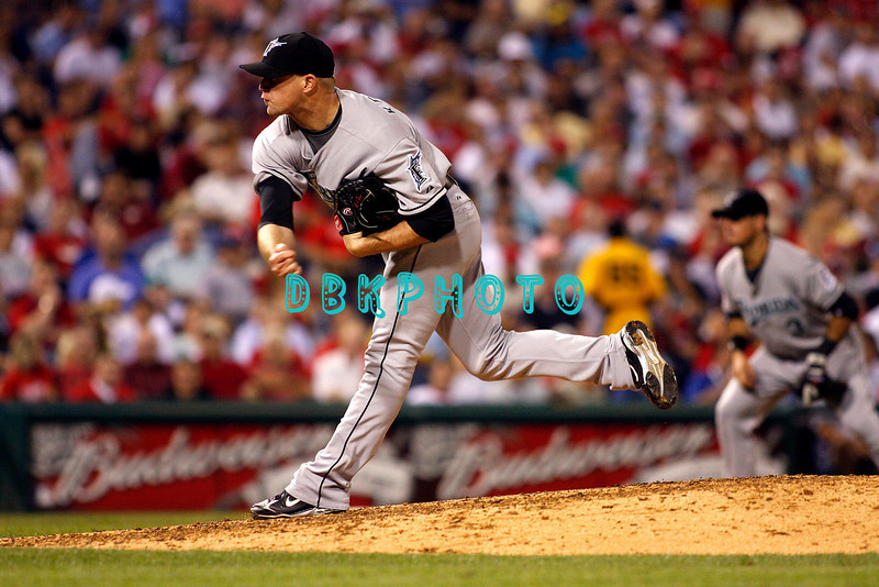 8 September 2008: Florida Marlins,  pitcher Logan Kensing (19) pitches in relief of starter  Anibal Sanchez in the game against the Philadelphia Phillies. Philadelphia went on to win defeating the Marlins 8-6 in Citizens Bank Stadium in Philadelphia, PA
