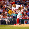 8 September 2008: Philadelphia Phillies' starting pitcher Joe Blanton (56) fires a  pitch in the game against the Florida Marlins. Philadelphia went on to win defeating the Marlins 8-6 in Citizens Bank Stadium in Philadelphia, PA