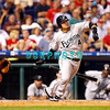 8 September 2008: Florida Marlins, center fielder Alfredo Amezaga hits a fly ball deep to left field in the game against the Philadelphia Phillies. Philadelphia went on to win defeating the Marlins 8-6 in Citizens Bank Stadium in Philadelphia, PA