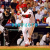 8 September 2008: Philadelphia Phillies' 1st baseman Ryan Howard tries to avoid a tag by Marlins catcher John Baker (21) on a dropped 3rd strike in the game against the Florida Marlins. Philadelphia went on to win defeating the Marlins 8-6 in Citizens Bank Stadium in Philadelphia, PA