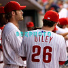 8 September 2008: Philadelphia Phillies' Chase Utley (26) and right fielder Jason Werth (28) have a conversation before taking the field late in the game against the Florida Marlins. Philadelphia went on to win defeating the Marlins 8-6 in Citizens Bank Stadium in Philadelphia, PA